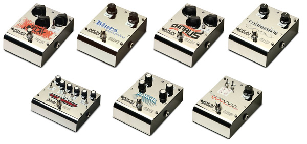 Akai Analog Delay, Blues Overdrive, Chorus, Compressor, Deluxe Distortion, Flanger, Phase Shifter